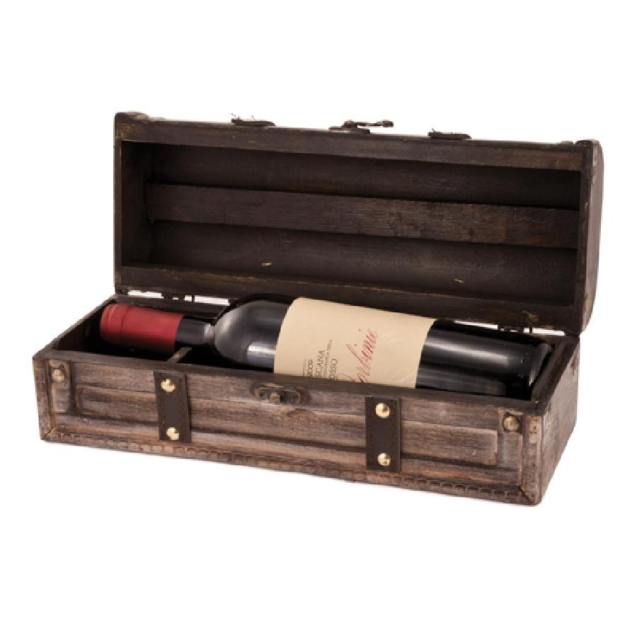 Country Cottage Whitewashed Single Bottle Wine Box