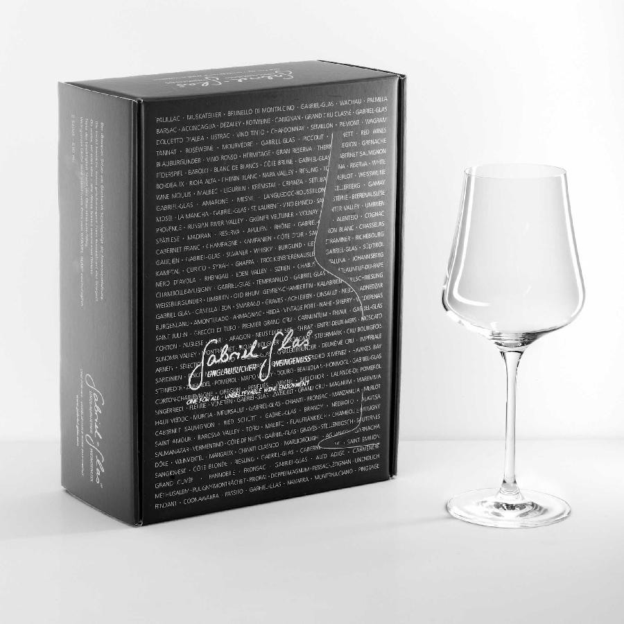 Mouth-Blown Austrian Universal Crystal Wine Glass Gold Edition (2 Glass Gift Box) by Gabriel Glas