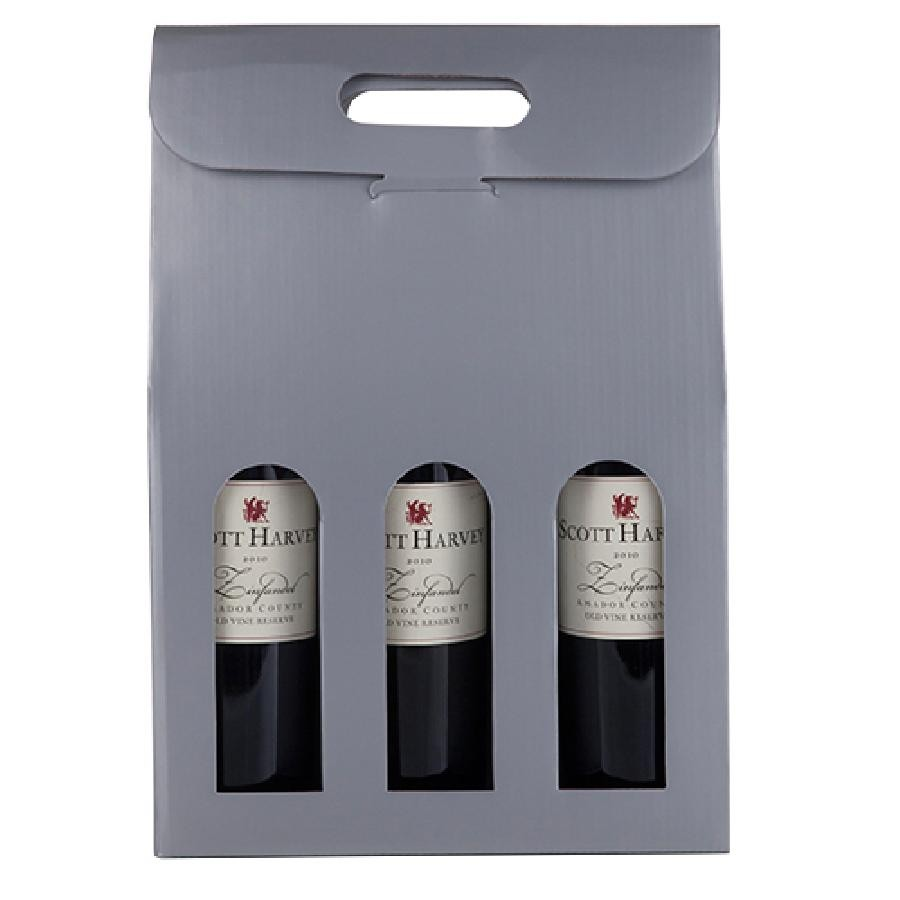 Marketplace Silver 3-Bottle Carrier