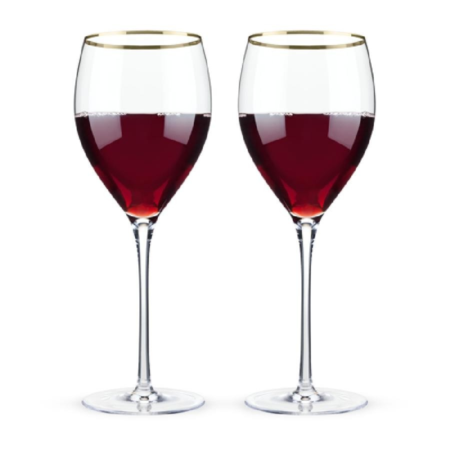 Belmont™ - Gold Rimmed Crystal Red Wine Glasses (Set of 2)