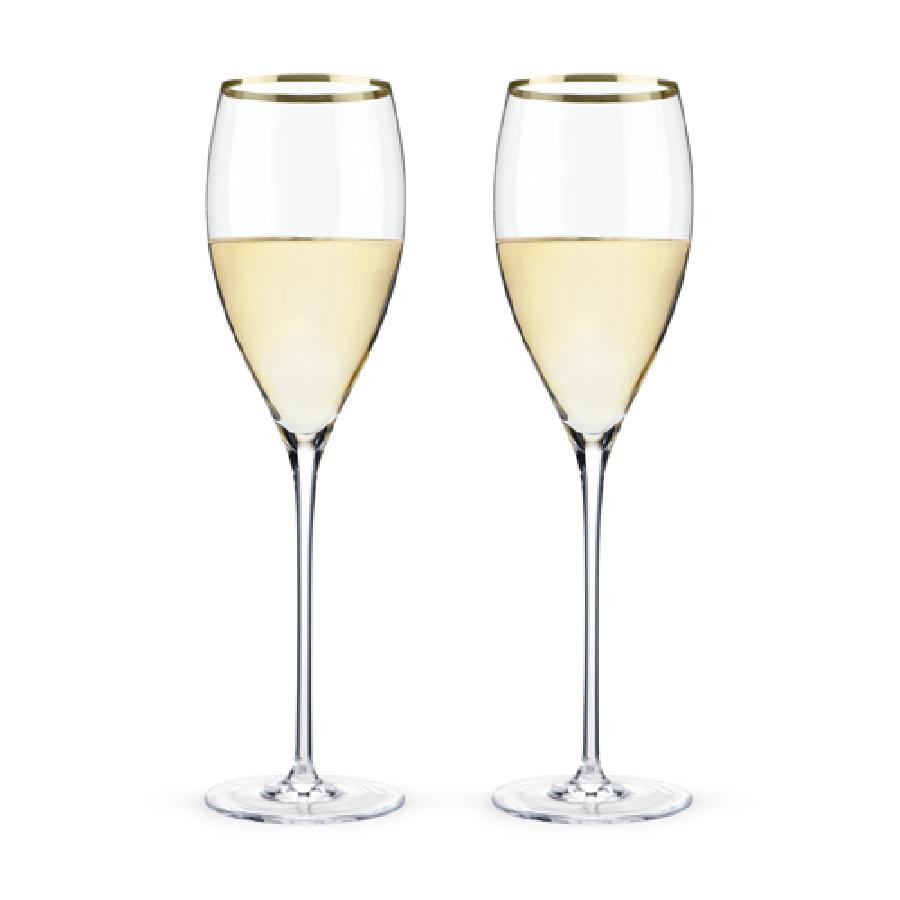 Belmont™ - Gold Rimmed Crystal White Wine Glasses (Set of 2)