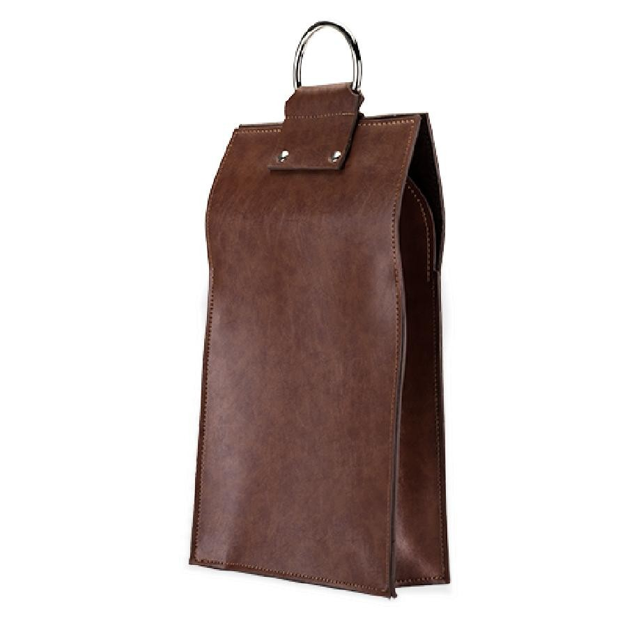 Admiral Faux Leather Double Bottle Brown Wine Tote (VISKI)