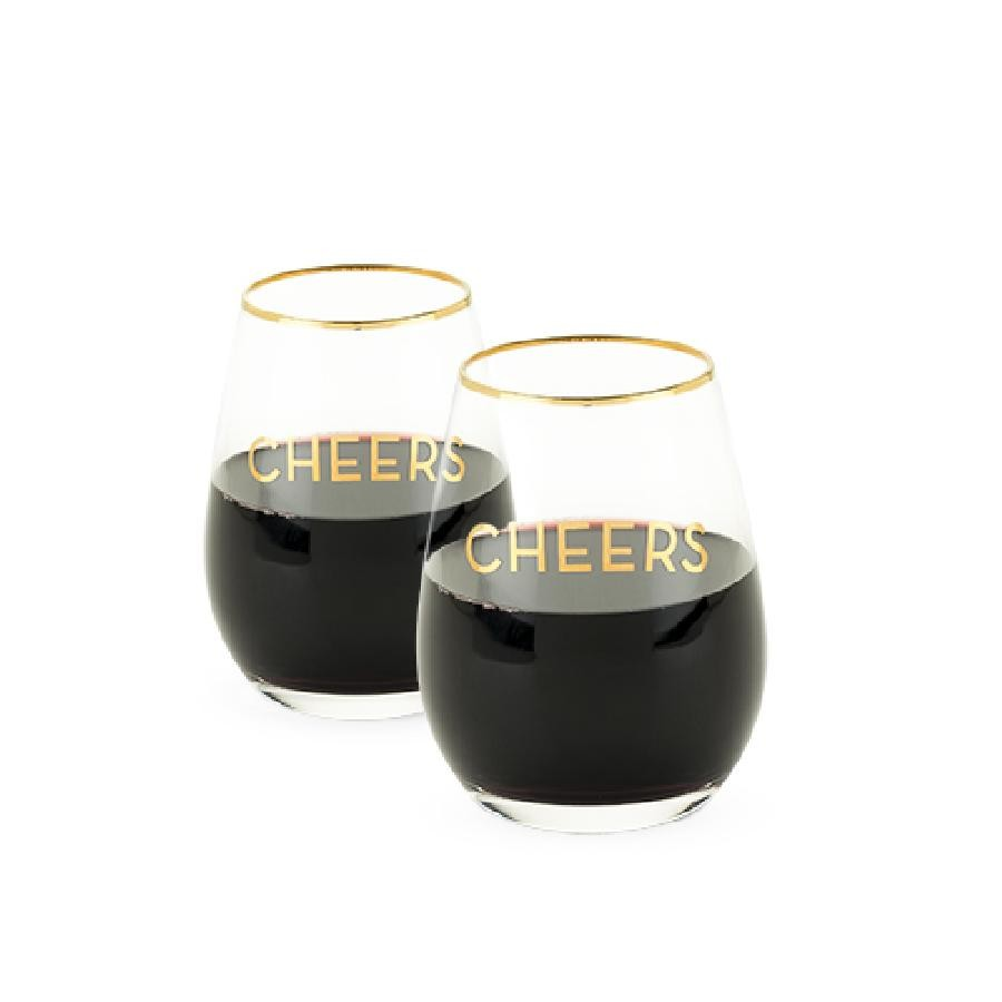 Rustic Farmhouse™ Cheers Stemless Wine Glass Set by Twine