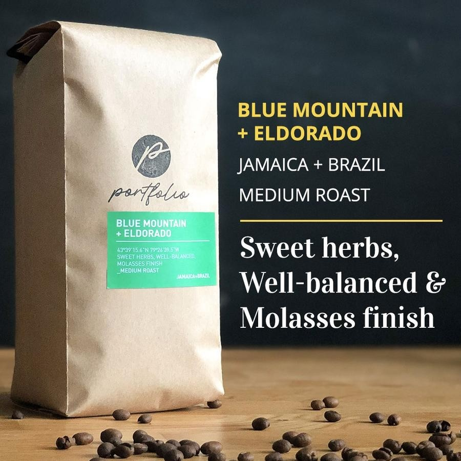 Blue Mountain + Eldorado Jamaican Brazilian Coffee Blend (1lb) Medium-Light Roast by Portfolio Coffee Roasters