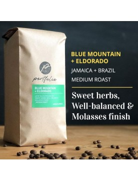 Blue Mountain + Eldorado Jamaican Brazilian Coffee Blend (1/2lb) Medium-Light Roast by Portfolio Coffee Roasters