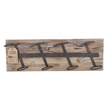 Rustic Farmhouse Metal & Wood Wine Rack