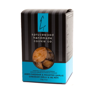 Canadian Classic Aged Cheddar & Roasted Garlic Shortbread Biscuits by Sprucewood Handmade Cookie Co.