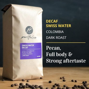 Swiss Water Decaf Colombian Coffee (1lb) Dark Roast by Portfolio Coffee Roasters