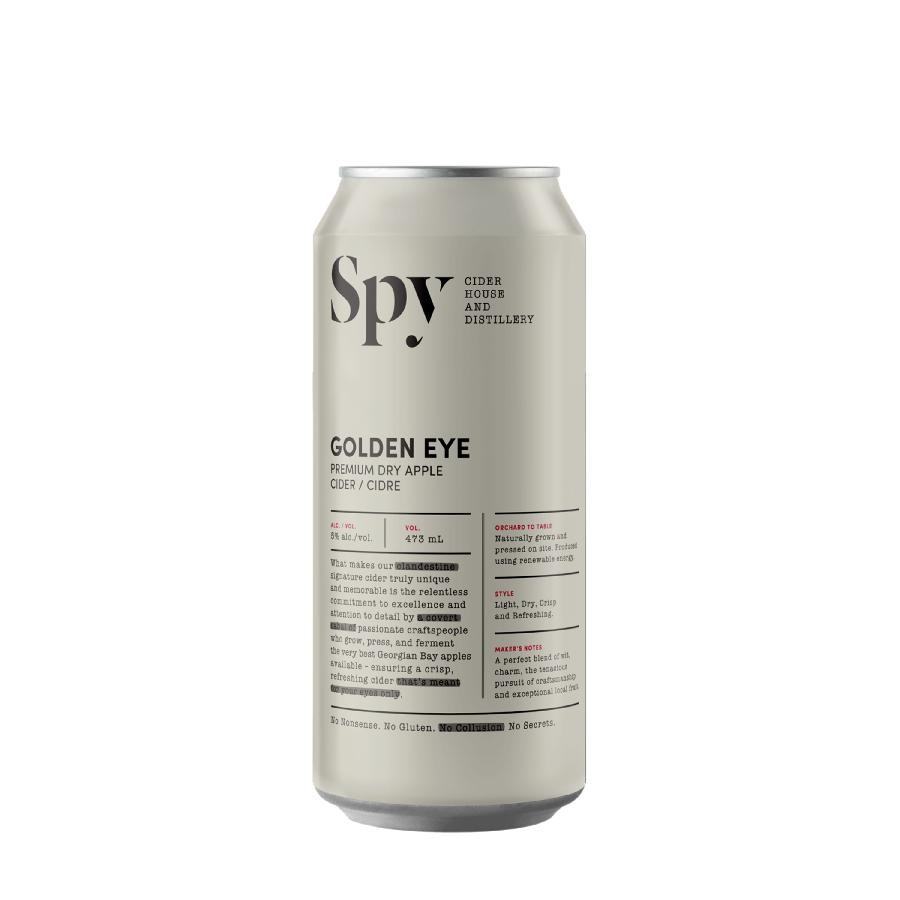 Golden Eye Premium Dry Apple Cider (473ml Can) 24 Pack by Spy Cider House and Distillery